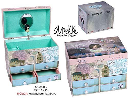 ANEKKE Joyero 4 cajones Organizadores de Joyas para Armario Almacenaje de Adornos Festivos Artículos para el hogar Unisex Adulto, Multicolor (Multicolor), única