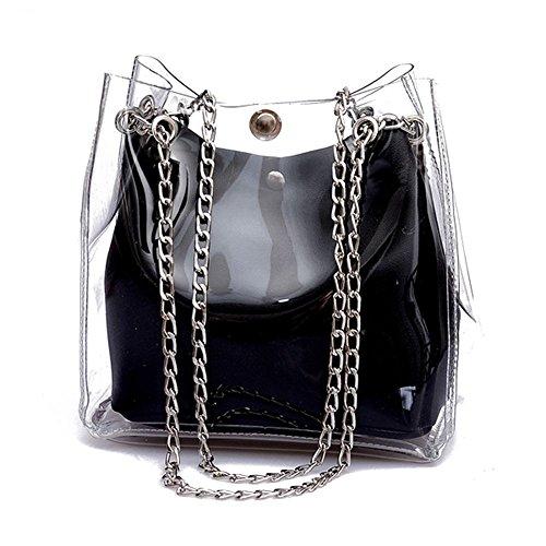 SODIAL Bolsa de cubo pequena para mujer Bolso transparentes de plastico Bolsa de cadena compuesta Bolso jalea mini de mujer Negro