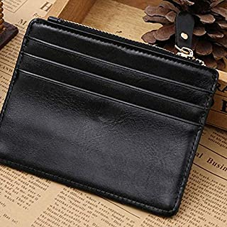 Real Leather Credit Card Holder Thin Card Case Mini Card Wallet Men Business ID Money Cards Pack Black