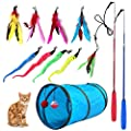Retractable Cat Toy Wand, 12 Packs Interactive Cat Feather Toys, 9 Assorted Teaser Refills with Bell for Cat Kitten from M JJYPET