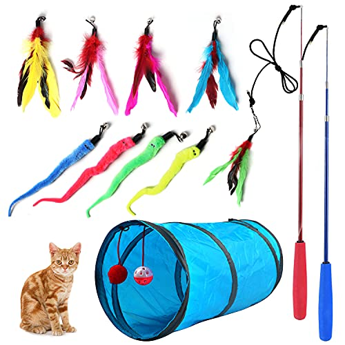 Retractable Cat Toy Wand, 12 Packs Interactive Cat Feather Toy, 9 Assorted Teaser Refills with Bell for Cat Kitten.
