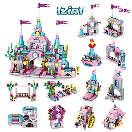 HYZM 12 in 1 Bausteine Haus Schloss - 566 Teiliges Klemmbausteine Prinzessin Burg Konstruktionsspielzeug, Kompatibel mit Lego