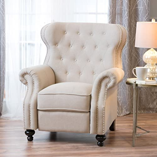 Best Christopher Knight Home Walder Tufted Fabric Recliner, Wheat