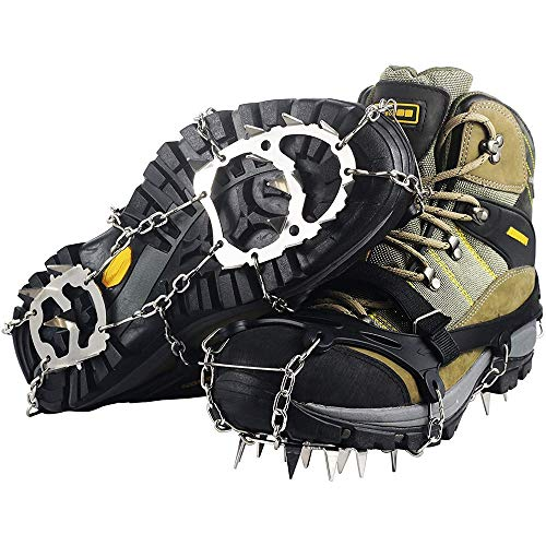 Ravifun Crampons Ice Cleats Traction Snow Grips for Women Men Kids Boots Anti Slip 18 Teeth Stainless Steel Spikes for Winter Walking Hiking Climbing Jogging Mountaineering