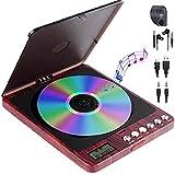 Reproductor de CD portátil, 1500 mAh, recargable, reproductor de MP3, reproductor de CD, altavoz incorporado con conector hembra, resistente a los golpes, para casa, coche y viajes