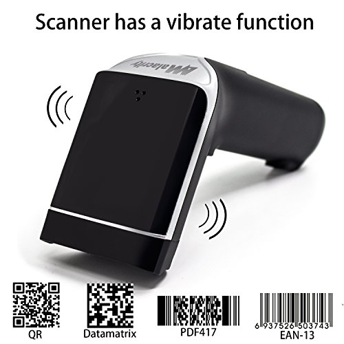 Escáner de código de barras Bluetooth, Alacrity USB portátil con código de barras con procesador de 32 bits, compatible con Windows, Mac OS, Android 4.0 +, iOS (TT-BS030US), color Bluetooth 2D