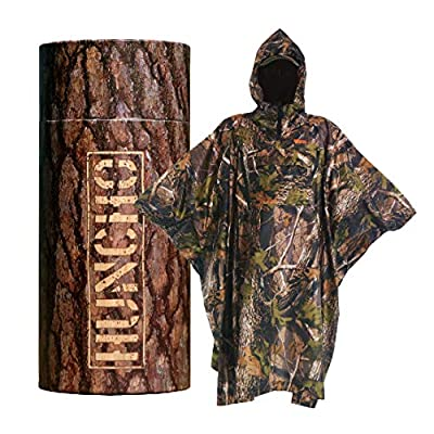Rain Poncho with Breathable Zippers and Chest Pocket. Realtree Camo. Multi-Functional Gear, Waterproof, Lightweight and Tactical for Adults in Army, Military, Camping, Hiking, Hunting and Outdoors.