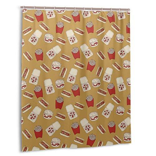ZHENGYUAN Köstliche Fast-Food-Hamburger-Pommes-Pizza-Duschvorhang 60x72 Zoll wasserdichter Duschvorhang aus Polyestergewebe mit Haken Baddekor Maschinenwaschbarer Fenstervorhang