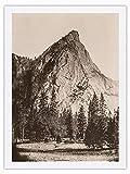 Fotografía histórica de Carleton E. Watkins c.1865 - Vista frontal de tres hermanos Yosemite - Parque Nacional de Yosemite, California, blanco y negro, impresión 100% seda pura Dupioni, 61 x 81 cm
