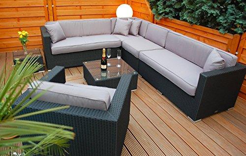 Ragnarök-Möbeldesign PolyRattan Lounge DEUTSCHE Marke - EIGNENE Produktion - 7 Jahre GARANTIE Garten Möbel incl. Glas und Polster (schwarz) Gartenmöbel - 2