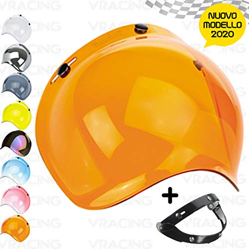 VRacing Visiera Casco 3 Bottoni Universale Casco jet e integrale Visiere Bubble a Bolla Custom retrò con meccanismo 3 altezze regolabile flip up incluso (Arancione)