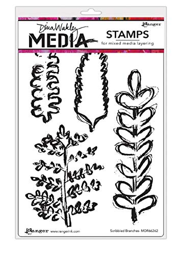 Ranger Dina Wakley Media Cling Stamps 6'X9'-Scribbled Branches