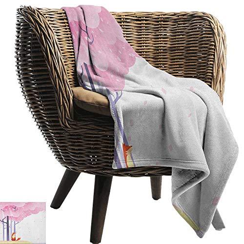 ZSUO baby deken Vossen, Sneeuw Vossen met Winter Truien en Sjaal Cartoon Vulpe Vrienden in Cozy Environment Multi kleuren Gezellige Hypoallergene Eenvoudig te dragen Deken