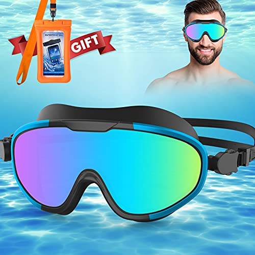 LINGYUN Anti Fog Swimming Goggles Kit Blue,Big Frame Anti-UV for Adult,Teen,Men,Women,Kids,With Gift Universal Cell Phone Dry Bags