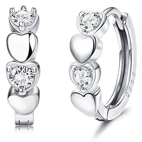 Sllaiss 925 Sterling Silver Tiny Hoop Earrings Love Heart Earrings for Women Cubic Zirconia Huggie Hoop Earrings White Gold Plated Sleeper Small Hoop Earrings
