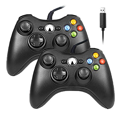 Reiso Xbox 360 Controller, 7.2 ft USB Wired Controller Gamepad Compatible with Microsoft Xbox 360 & Slim 360 PC Windows (Black and Black)