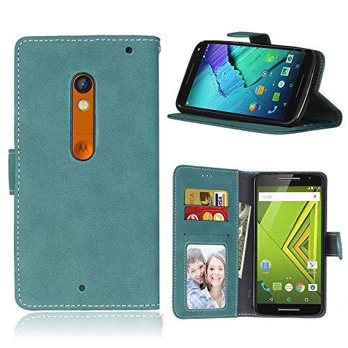 Sangrl Lederhülle Schutzhülle Für Motorola Moto X Play / X3 Lux XT1562, PU-Leder Klassisches Design Wallet Handyhülle, Mit Halterungsfunktion Kartenfächer Flip Case Blau