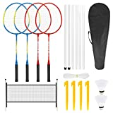 Achort Ensemble de raquettes de badminton pour 4 joueurs - Pour enfants et adultes - Ensemble complet de raquettes de badminton avec 2 volants, 4 raquettes, 4 clous, un filet et 6 poteaux