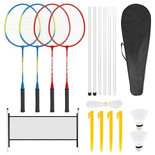 Achort Ensemble de raquettes de badminton pour 4 joueurs - Pour enfants et adultes - Ensemble complet de raquettes...