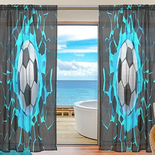 Bigjoke Vorhang für Fenster, transparent, für Wand, Fußball, Küche, Wohnzimmer, Schlafzimmer, Büro, Voile, 2 Stück, multi, 55x78 inches