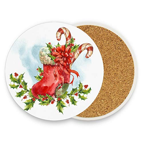 Watercolor Christmas Sock Coasters for Drinks 2 Pieces Set Ribbon Candy Cane Bar Cup Coaster Coffee Mug Glass Pad Tabletop Protection Mat for Housewarming Table Kitchen Dining Home Decor