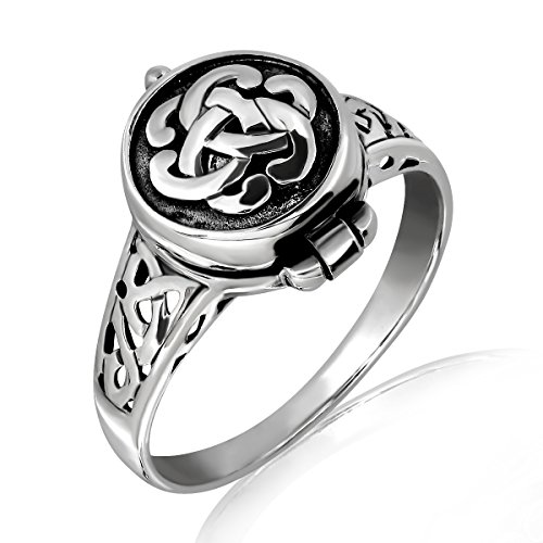 WithLoveSilver 925 Sterling Silver Round Irish Celtic Knot Poison Locket Ring (9)