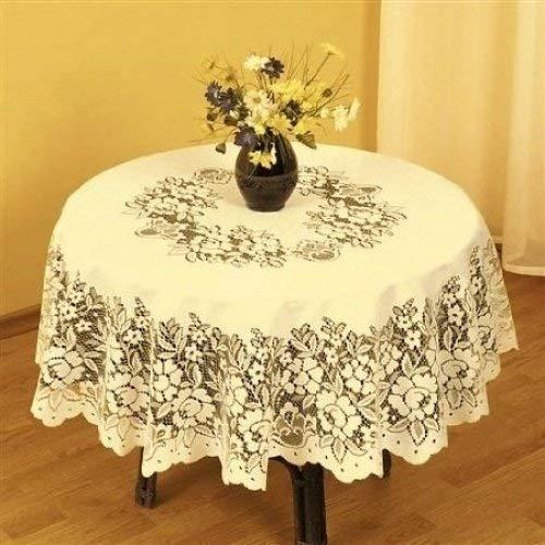 """72/"""" forme ronde dentelle blanche en plastique en relief Vinyle TABLE CLOTH by Knight"""