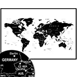 Weltkarte Wanddekoration - Landkarte Wandbild Design Motiv XXL Poster - Design Style World Map (120...