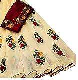 Artham Women's Ethnic Wear Chanderi Cotton Embroidered Finishing Work Saree With Red Blouse Piece (Beige)