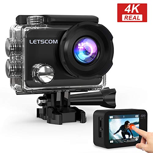 LETSCOM 4k60fps WiFi Action Camera Touch Screen Sports Cam 16MP Underwater Waterproof Video Recorder, 170° Ultra Wide Angle,HD Travel Vlog Camera with Helmet Accessories