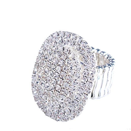 Santfe Women Adorable Crystal Rhinestones Oval Design Stretch Fashion Ring Shinning Silver Plated (style 1)