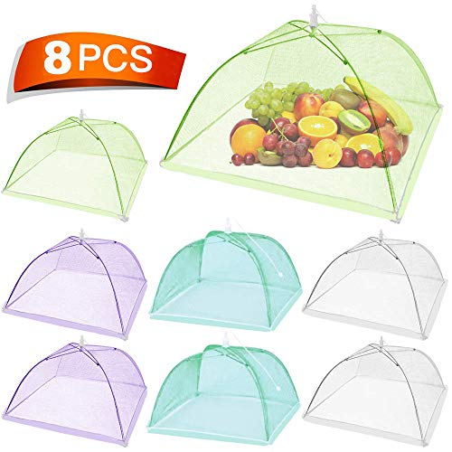 Keeygo Food Cover Food Tent, Large Pop-up Mesh Food Cover, 8 Pack Colored Screen Tent Patio Net for Outdoors, Parties Picnics, BBQ, Reusable and Collapsible, 17 Inches
