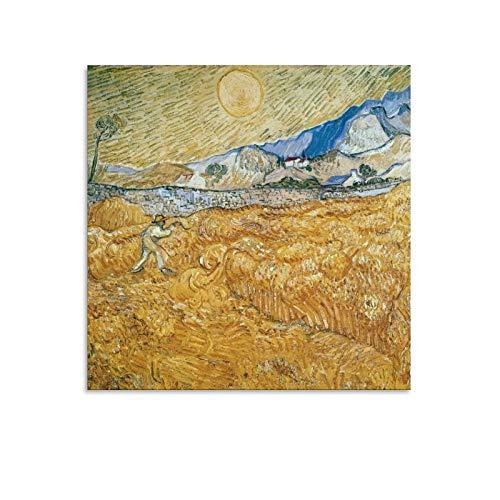 YGTD Vincent Van Gogh Wheatfield con un segador, 1 obra de arte, póster para pared, lienzo para regalo, decoración del hogar, 40 x 40 cm