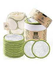 Greenzla Herbruikbare make-up verwijderingspads (pakje van 20) met wasbarewaszak en rondedoosvoor het opbergen | 100% biologischebamboeWattenschijfjesvoorallehuidtypen | Herbruikbare eco-vriendelijkeWattenschijfjes