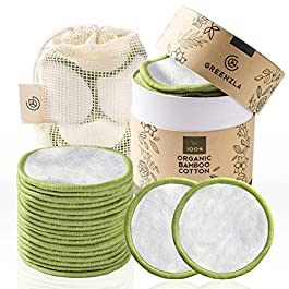 Greenzla Reusable Makeup Remover Pads (20 Pack) With Washable Laundry Bag And Round Box for Storage   100% Organic Bamboo Cotton Rounds For All Skin Types – Eco-Friendly Reusable Cotton Pads