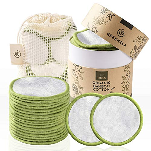 Greenzla Reusable Makeup Remover Pads (20 Pack) With Washable Laundry Bag And Round Box for Storage | 100% Organic Bamboo Cotton Rounds For All Skin Types – Eco-Friendly Reusable Cotton Pads