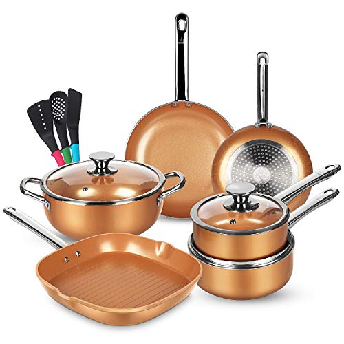 KUTIME 12pcs Nonstick Cookware Set, Pots and Pans Set with Stainless Steel Handles, Frying Pan Set Copper Ceramic Coating Grill Pan Nonstick Stock Pot, Sauce Pans, Gas, Induction Compatible, Oven Safe