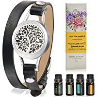 Somora Aromatherapy Essential Oil Leather Diffuser Bracelet with Tea Tree
