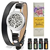 Aromatherapy Essential Oil Leather Diffuser Bracelet w/Tea Tree, Lemongrass, Orange and Peppermint -10ML/pcs, Unique Gift Ideas for Women, Girls, Friend, Mom at Anniversaries, Birthday and Christmas