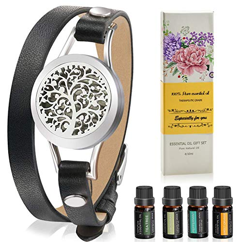 Aromatherapy Essential Oil Leather Diffuser Bracelet w/ Tea Tree, Lemongrass, Orange and Peppermint -10ML/pcs, Unique Gift Ideas for Women, Girls, Friend, Mom at Birthday and Mother's Day