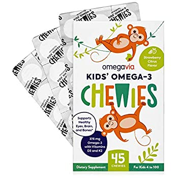 Omega 3 Fish Oil Gummies - Ultra-High DHA Chewable Gel Gummy - Omega 3 for Kids Supports Brain Eyes & Bones - Sugar-Free Natural Fruit Flavor - 45 Kids Omega 3 Gummies with Vitamin D3 and K2