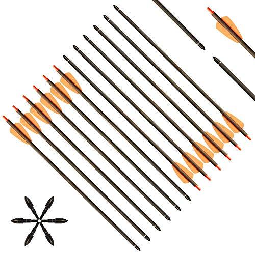 DZGN Flechas de Ballesta de Carbono de 15 Pulgadas Archites de la Caza de la Caza de Tiro a Las Flechas con 2