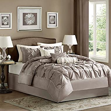 Madison Park Laurel King Size Bed Comforter Set Bed In A Bag - Taupe, Wrinkle Tufted Pleated – 7 Pieces Bedding Sets – Faux Silk Bedroom Comforters