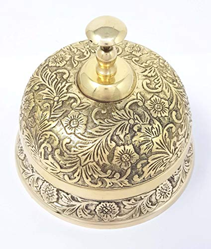Brass Nautical - Ornate Desk Bell Table Bells Call Bell Reception Bell (5.5 inches, Brass Antique)