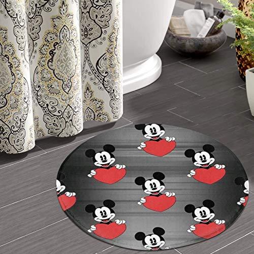 Lnshizhen Alfombra redonda de franela antideslizante para baño, dormitorio, cocina, Mickey Mouse Love (50,8 cm)