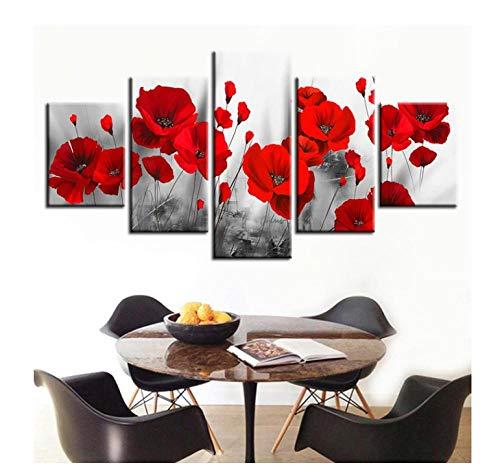 Poster Stampe su tela 5 pezzi Decorazioni per la casa Immagini su tela Immagini da parete HD 5 Pannello Dipinti di fiori Stampe Poster Modulari per soggiorno4x6inx2,4x8inx2,4x10inx1
