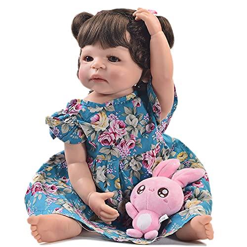 MuñEca Dde SimulacióN Reborn Doll Baby MuñEca Renacida Vinilo de Silicona de SimulacióN Regalo Juguete Realista Modelo de BebéS de Silicona Regalos para NiñOs (Color:Ojos Marrones Ojos Azules)