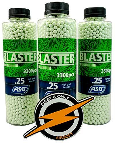 Blaster Airsoft BBS 25 Gramos y Parche de First and Only Airsoft, munición de Pistola Airsoft: municiones Muy precisas en una increíble Oferta de 3 Botellas / 9900 Disparos a Granel