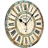 OUUUKL Reloj de Pared para Jardín, Reloj Colgante Silencioso de Cuarzo Redondo de Madera con Números Romanos Vintage Shabby Chic, Funciona con Pilas para Paredes Interiores Salas de Estar