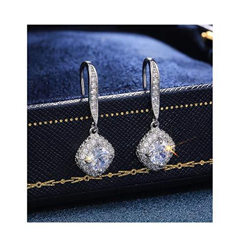 YUEMEI Pendientes De Cristal De Circonita Cúbica Geométrica Super Brillante Con Incrustaciones, Pendientes De Aleación De Collar De Perlas De Diamantes, Pendientes De Collar De Copo De Nieve (